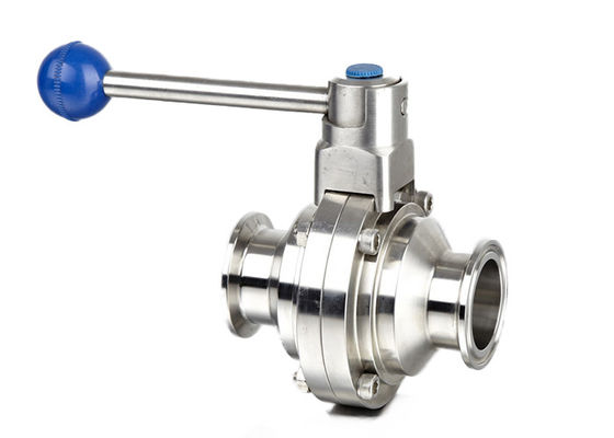 China Hygienic Tri Clover Butterfly Valve , Sanitary Stainless Steel Butterfly Valves factory