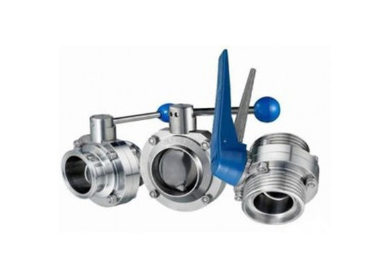 Hygienic Stainless Steel Sanitary Butterfly Valve , Tri Clamp Butterfly Valve For Food